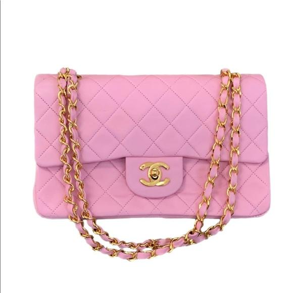 "CHANEL Handbags - VTG CHANEL CLASSIC FLAP 9"" PINK GHW"